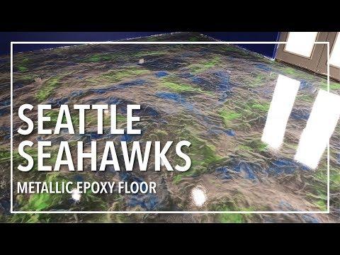Seattle Seahawks Metallic Epoxy Floor Full Tutorial