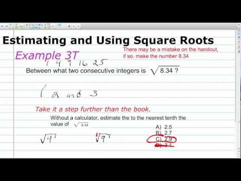 Unit 1 Lesson Topic 1 Part 2 - Finding and Estimating Square Roots
