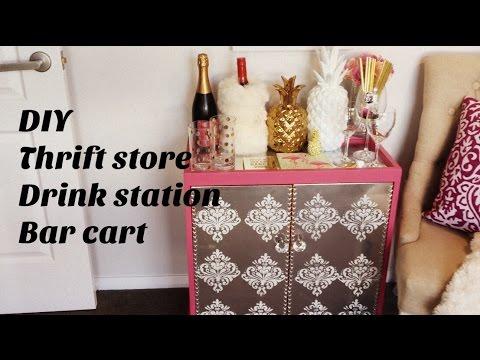 DIY thrift store Mirrored Drink Station Bar Cart