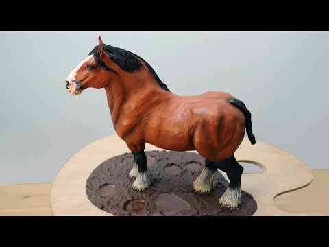 Art Lesson: How to Paint a Shire Horse Sculpture with Water Mixable Oil Paint.  Part 2