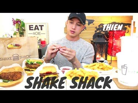 [mukbang with THIEN]: SHAKE SHACK (ShackBurger, 'Shroom Burger, Chick'n Shack, and Toffee Shake)