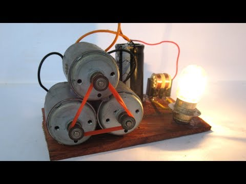Free energy electric motor with light bulbs very easy - simple DIY at home 2018