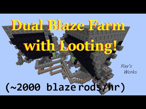Dual Blaze Farm with Looting! [Infinitely Automatic] (2000rods/h) 1.12-1.9+ Survival | Ray's Works