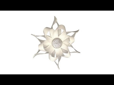 How To Make A Ribbon Snowflake Hair Bow Clip