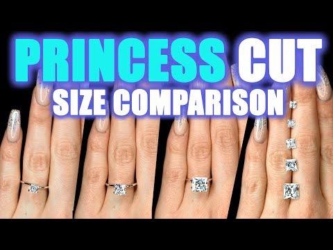 Princess Cut Diamond Size Comparison on Hand Finger 1 Carat Square 2 ct 3 4 .5 .75 6 Engagement Ring