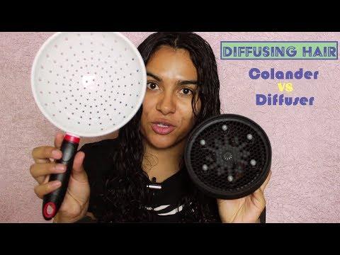 Diffusing Hair w/ Colander VS. Diffuser | Curly Hair Mondays