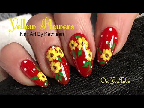DIY Spring Nail Art - Yellow Flowers