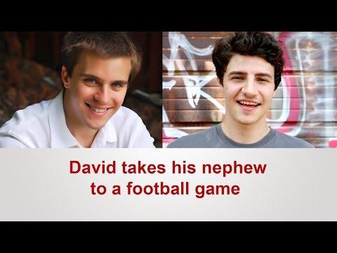 English dialogue: David takes his nephew to a football game