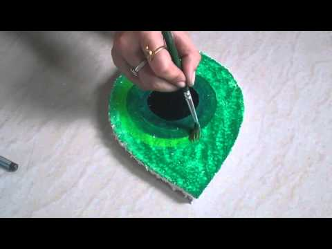 DIY peacock feather creative Thermocol art - how to ma