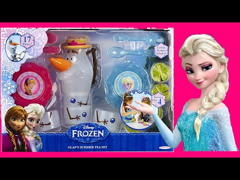 FROZEN OLAF SUMMER TEA SET TOY Unboxing -- Princess Elsa Anna and Snowman Olaf Tea Party Time!
