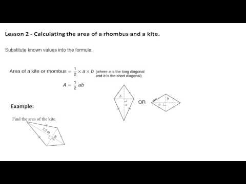 Perimeter and Area - Lesson 2 - Area of a rhombus and kite