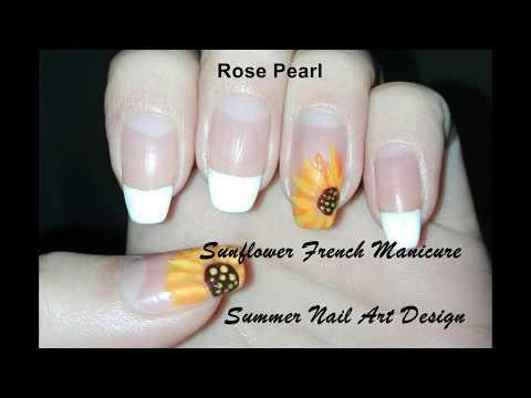 Sunflower French Nail Art Tutorial: DIY Summer Nail Art Design |Rose Pearl