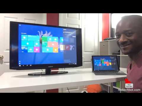 Microsoft Wireless Display Adapter Demo on a TV Using The Surface Pro 4
