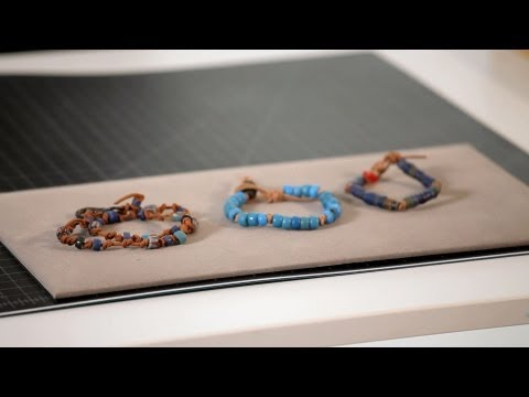 How to Make Leather Bracelet w/ Trade Beads | Making Jewelry