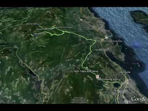 Google Earth flyover of route to Marshall Lake, (Nanaimo, BC, Vancouver Island)