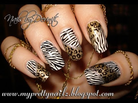EASY HOT LEOPARD ZEBRA ANIMAL PRINT NAIL ART STAMPING DESIGN TUTORIAL