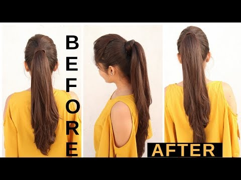 How to: Long Ponytail with puff  Without Extension| Easy Ponytail Trick