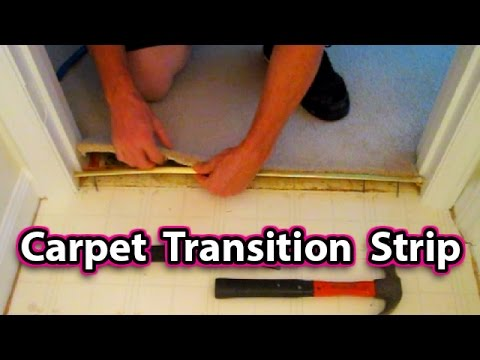 How to Install a Carpet Transition Strip - EASY! floor repair fix rug replace tack
