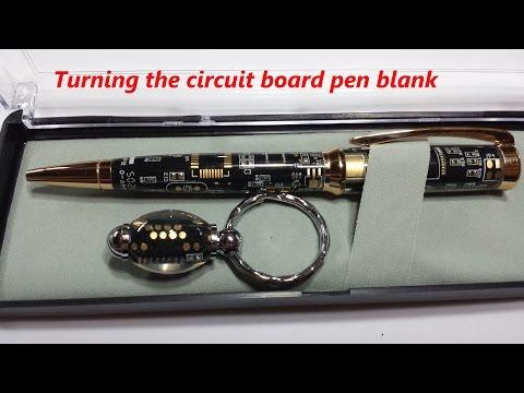 Turning the circuit board pen blank