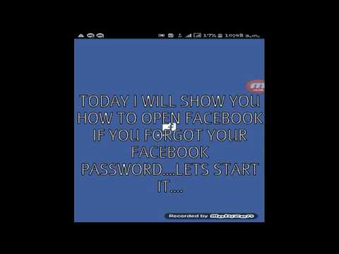 How to open FACEBOOK if you forgot your FACEBOOK password...