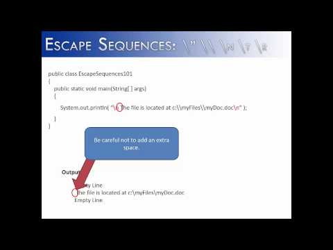 Escape Sequences: \