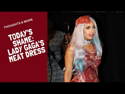 Lady Gaga's meat dress and shoe.