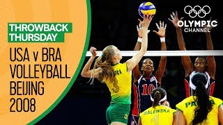 Brazil Women beat USA for their first Volleyball Gold | Beijing 2008 | Throwback Thursday