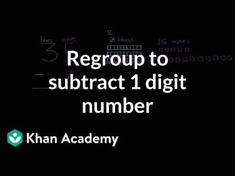Subtracting a 1-digit number with regrouping | 2nd grade | Khan Academy