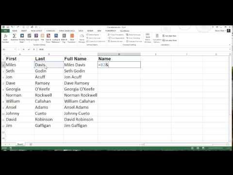 Excel Concatenation with First and Last Names