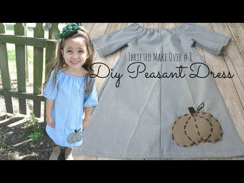 DIY Peasant Dress with Pumpkin Appliqué | THRIFTED MAKE OVER #8