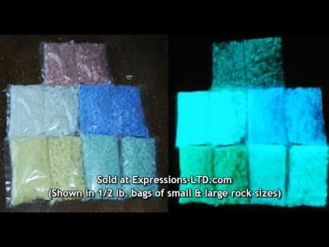 Glow in the Dark Rocks Glass Aggregate in Concrete Countertop