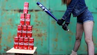 EXPERIMENT: GIRL WITH BASEBALL BAT vs COCA COLA