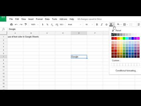 How to Change Text Color in Google Spread Sheets