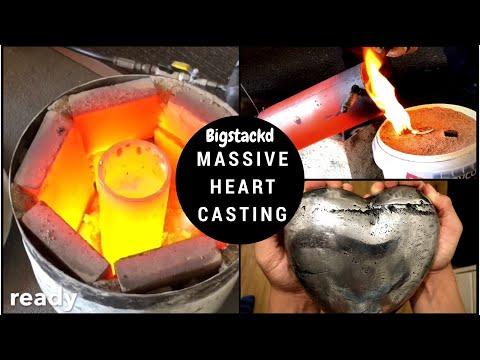 CASTING A MASSIVE HEART - Melting & casting Aluminium from old ingots