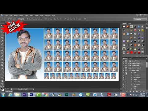 How to Make Passport Size & Stamp Size Photo In One Click | Photoshop | 2017