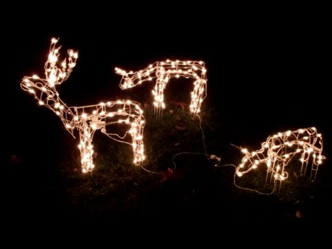 Box Opening  3 Piece Lighted Deer Family Outside Christmas Decorations  - December 20, 2014