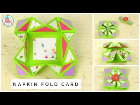 Napkin Fold Card Tutorial - DIY How to Make a Handmade Pop-Up Card