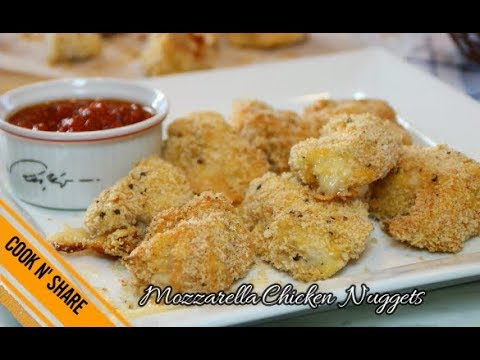 Mozzarella Stuffed Chicken Nuggets - Baked and Delicious