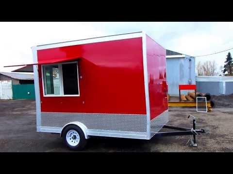 Red Food Trailer Espresso Stand