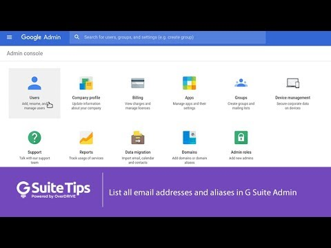 List all email addresses and aliases in G Suite Admin