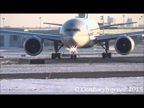 RARE: Qatar Airways Cargo Boeing 777-200LR/F Takeoff @ Toronto Pearson Int'l February 28, 2015