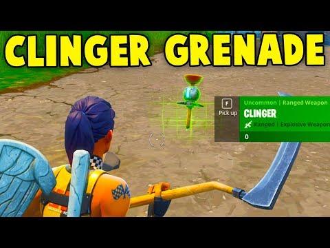 Fortnite: 'CLINGER' GRENADE GAMEPLAY! NEW STICKY BOMB UPDATE GAMEPLAY || Fortnite Battle Royale!