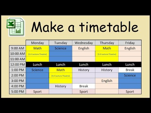 How to make a timetable in Excel