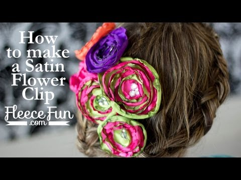 How to make a satin flower hair clip