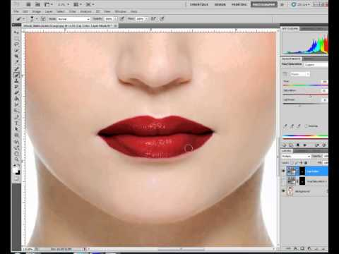 PHOTOSHOP TUTORIAL - CHANGING LIPCOLOR WITH ADJUSTMENT LAYER MASKS