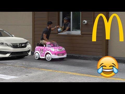 McDonald's Drive Thru Prank In A Power Wheels!