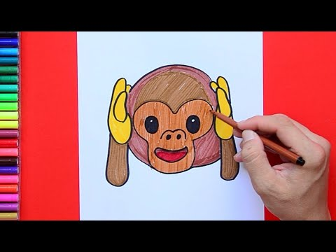 How to draw and color Hear No Evil Monkey Emoji 🙈🙉🙊