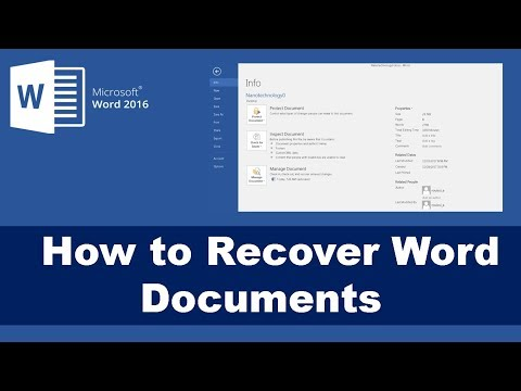 How to Recover Unsaved Document - Word 2016